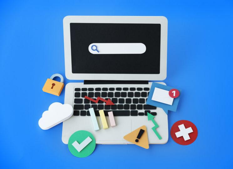 Tietokone ja erilaisia käyttöliittymän elementtejä